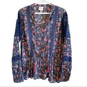 Knox Rose blue floral peasant peplum blouse